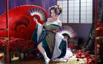 flowers, girl, umbrella, kimono, asian, geisha, fan