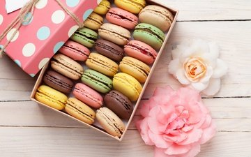 flowers, food, gift, box, sweet, cookies, pasta, decor, macaroon