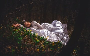 flowers, forest, girl, dress, the situation, sleep, sleeping beauty