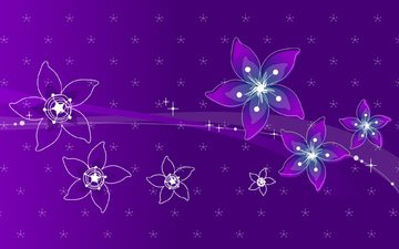 flowers, line, background, color, purple