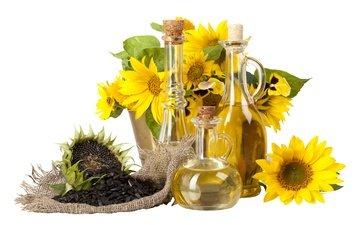 цветы, листья, масло, подсолнухи, белый фон, бутылки, семечки, колбы, мешковина, пробки