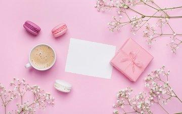 цветы, напиток, еда, кофе, печенье, макаруны