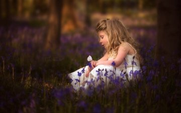 flowers, mood, butterfly, children, girl, hair, face, bells, bokeh