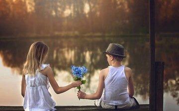 flowers, lake, pier, children, girl, boy, a bunch, date