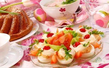 flowers, easter, eggs, cake, appetizer, serving