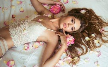 цветы, поза, лепестки, взгляд, волосы, белье, дамское белье, andrea garcia