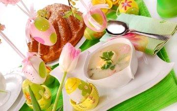 цветы, стол, пасха, яйца, кулич, суп, декор, сервировка