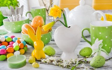 flowers, candles, spring, tulips, easter, eggs, bunny, decor