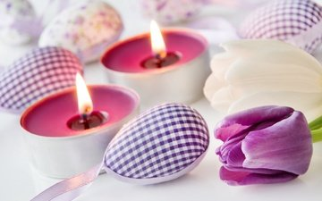 flowers, candles, spring, tulips, easter, eggs, decoration