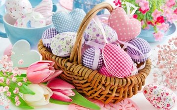 flowers, spring, basket, tulips, easter, hearts, pastel, eggs, decoration, happy, delicate, heart
