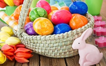 flowers, spring, basket, tulips, easter, eggs, decoration, happy, colorful, the painted eggs