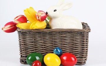 цветы, весна, тюльпаны, кролик, пасха, яйца, крашеные