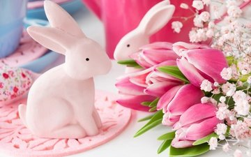flowers, spring, tulips, rabbits, easter
