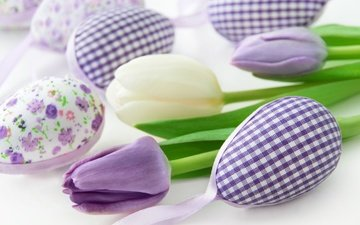 flowers, decoration, spring, tulips, easter, eggs