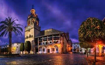 деревья, фонари, огни, вечер, дома, церковь, пальма, улицы, испания, площадь, андалузия, ronda