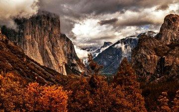 деревья, горы, осень, сша, калифорния, йосемити