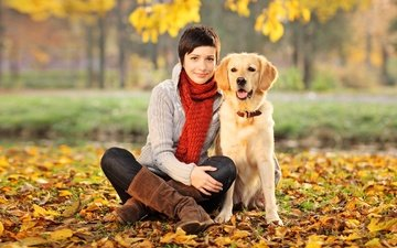 trees, leaves, girl, park, brunette, autumn, dog, sitting, yellow, sweater, boots, bokeh, scarf, golden retriever, on earth