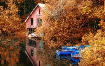 деревья, озеро, листья, отражение, осень, лодки, дом