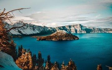 небо, деревья, озеро, горы, снег, сша, кратер, орегон