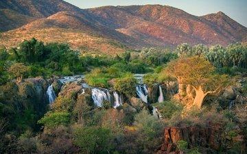 деревья, река, горы, камни, кусты, водопад, angola, oncocua