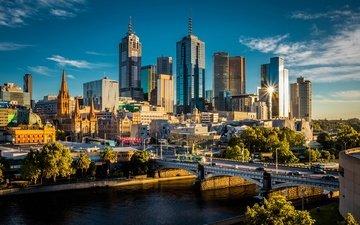 деревья, река, мост, небоскребы, дома, здания, австралия, солнечно, мельбурн