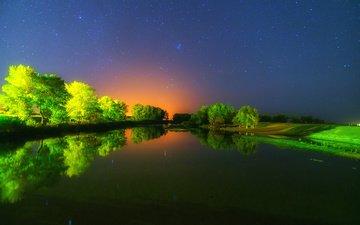 деревья, река, природа, закат, отражение, звезды, тишина