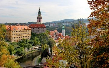 деревья, река, ветки, мост, город, осень, дома, речка, чехия, чески-крумлов, cesky krumlov