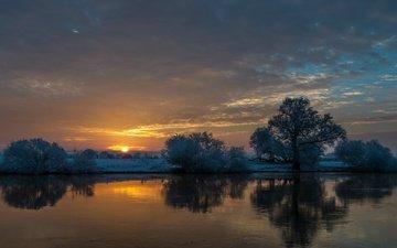 небо, облака, деревья, река, закат, отражение, allerland