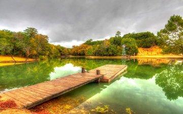 деревья, вода, отражение, парк, осень, причал, пруд