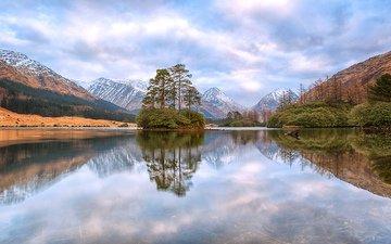 небо, облака, деревья, вода, озеро, горы, отражение, островок