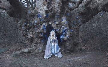 дерево, стиль, девушка, блондинка, бабочки