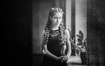 flowers, black and white, children, girl, hair, face, sill, braids