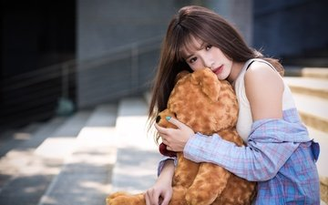 girl, look, hair, asian, shirt, teddy bear