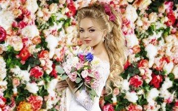 цветы, девушка, блондинка, букет, макияж, белое платье