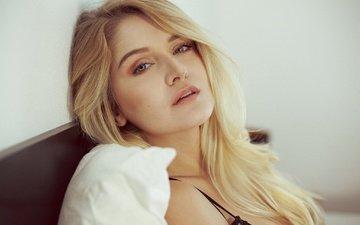 девушка, блондинка, портрет, лицо