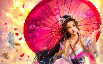 девушка, фантастика, голубь, зонтик, восток, cao yuwen