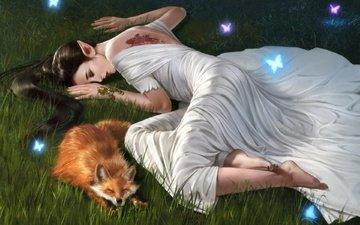 girl, fiction, sleep, fox, butterfly, elf