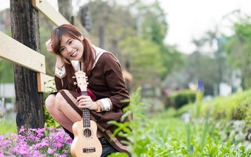 flowers, girl, mood, smile, guitar, look, asian
