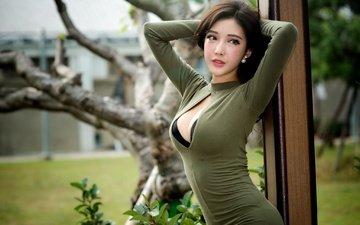 девушка, настроение, взгляд, грудь, азиатка, chang