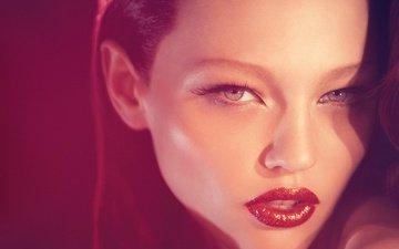 девушка, взгляд, волосы, губы, лицо, красный фон, саша пивоварова