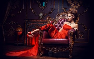 girl, interior, dress, pose, sitting, makeup, hairstyle, shoes, necklace, in red, in the chair, brown hair