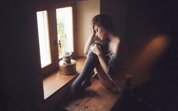 девушка, настроение, лампа, сидит, окно