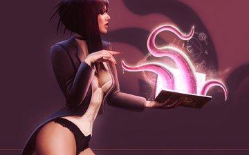 девушка, маг, книга, заклинание, колдунья, шупальца