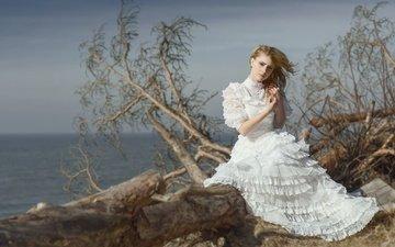 девушка, море, взгляд, волосы, белое платье