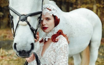 girl, mood, look, red, horse, redhead, white horse