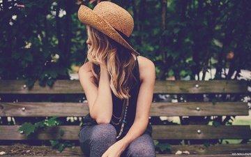 девушка, парк, волосы, скамья, шляпа
