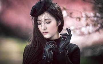 девушка, портрет, шляпка, азиатка, перчатки, вуаль, misaki