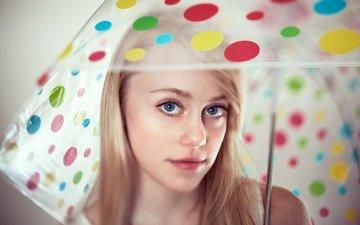 глаза, девушка, блондинка, портрет, взгляд, зонт, лицо