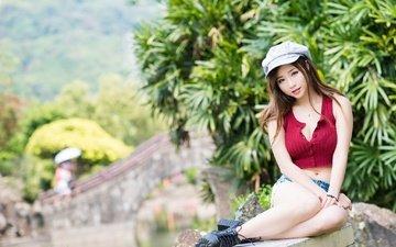 девушка, настроение, поза, взгляд, азиатка