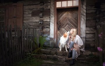 girl, mood, blonde, dog, house, kiss